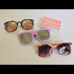 Sunglasses 3 colorful pairs, statement shades